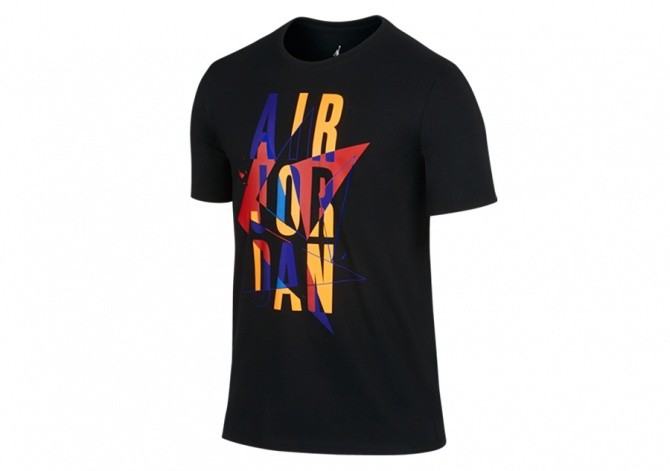 NIKE AIR JORDAN VII STACKED TEE BLACK BRIGHT CONCORD