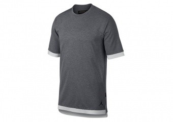 NIKE AIR JORDAN SPORTSWEAR TECH SHORT-SLEEVE TOP CARBON HEATHER