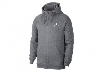 NIKE AIR JORDAN SPORTSWEAR JUMPMAN FLEECE HOODIE CARBON HEATHER