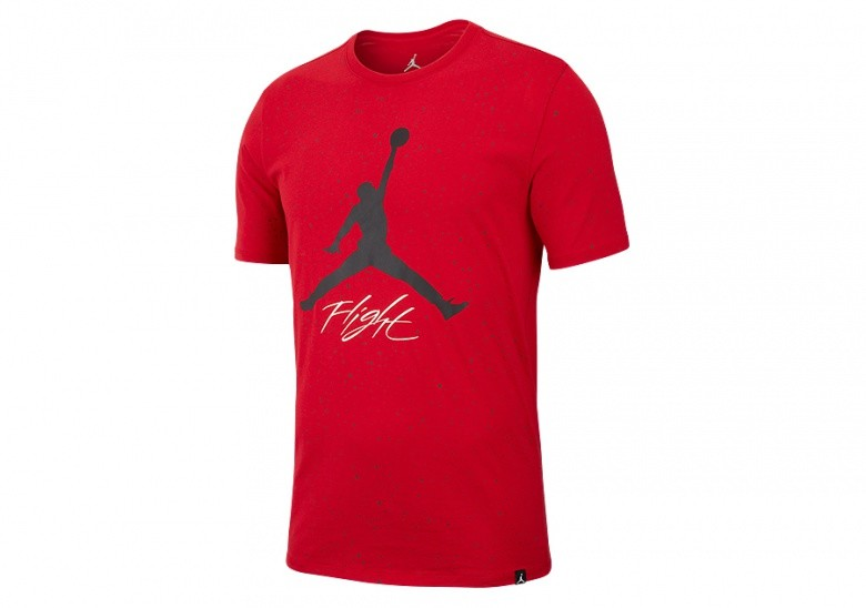 NIKE AIR JORDAN JUMPMAN FLIGHT DNA GRAPHIC CEMENT TEE GYM RED