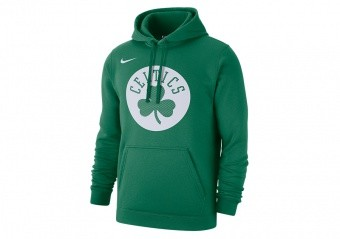 NIKE NBA BOSTON CELTICS CLUB LOGO FLEECE PULLOVER HOODIE CLOVER