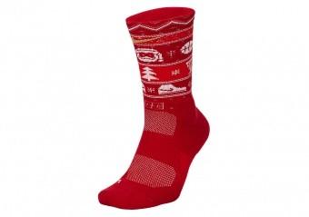 NIKE ELITE CHRISTMAS CREW SOCKS GYM RED