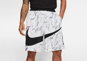 NIKE DRI-FIT HBR MARBLE SHORTS WHITE