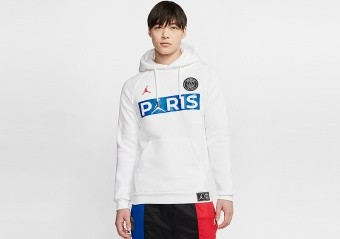NIKE AIR JORDAN PSG PARIS SAINT-GERMAIN FLEECE PULLOVER HOODIE WHITE