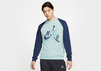 NIKE AIR JORDAN JUMPMAN CLASSICS FLEECE CREW TOP TEAL TINT