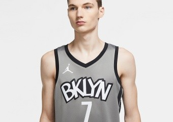 NIKE NBA BROOKLYN NETS KEVIN DURANT STATEMENT EDITION SWINGMAN JERSEY DARK STEEL GREY