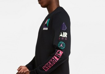 NIKE AIR JORDAN WINTER UTILITY MOUNTAINSIDE LONG-SLEEVE CREW TEE BLACK