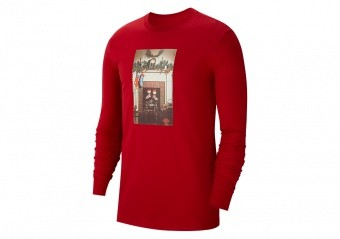 NIKE AIR JORDAN JUMPMAN CHMINEY CHRISTMAS LONG-SLEEVE CREW TEE GYM RED