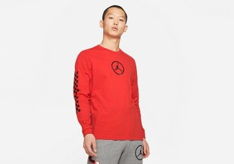 NIKE AIR JORDAN SPORT DNA HBR LONG-SLEEVE CREW TEE CHILE RED